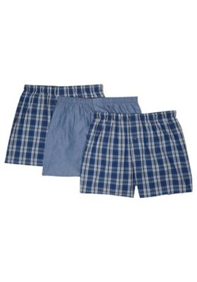 F&F 3 Pack of Tile Print Woven Boxers with As New Technology Blue L