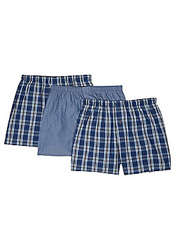 F&F 3 Pack of Tile Print Woven Boxers with As New Technology - Blue