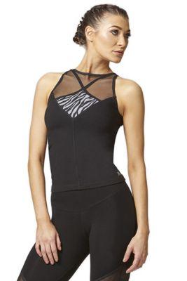 Reversible High Low Mesh Inset Workout Vest Black 2X