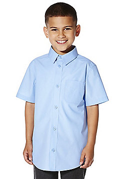 F&F School 2 Pack of Boys Easy Iron Short Sleeve Shirts - Blue