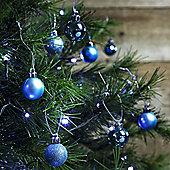 36pcs 3cm Shatterproof Ice Blue Christmas Tree Mini Bauble Decorations