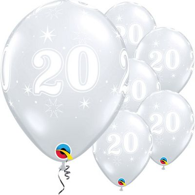 20th Birthday Sparkle Clear Balloon - 11 inch Latex - 25 Pack
