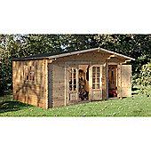 Forest Garden Wrekin Log Cabin 4.5m x 3.5m Installed
