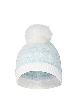 Mountain Warehouse Fair Isle Knit Hat Acrylic with Fluffy Pom Pom on Top - Green