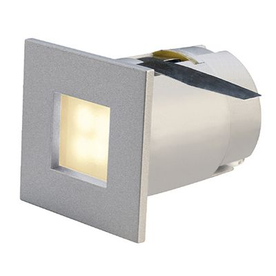 Mini Frame LED Recessed Spotlight Square Silvergrey 0.3W Warm White 4 LED