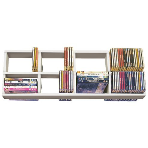 Techstyle CD / DVD / Blue Ray Double Wall Shelf - White