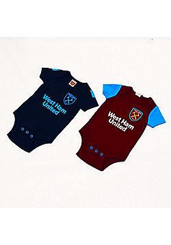 West Ham United FC Baby Bodysuit 2 Pack - Claret & Blue