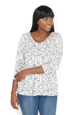 Evans Butterfly Print Plus Size Top Ivory Multi 26-28