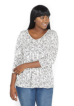 Evans Butterfly Print Plus Size Top - Ivory Multi
