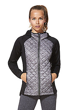 F&F Active Quilted Body Hoodie - Black