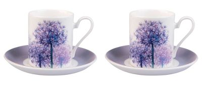 Roy Kirkham Set of 2 Alliums Coffee Can Cups & Saucers