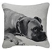 Boxer Dog Cushion - Black & White