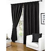 Hamilton McBride Faux Silk Pencil Pleat Black Curtains - 90x90 Inches (229x229cm) Includes Tiebacks