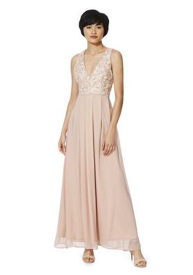 AX Paris Lace Bodice Chiffon Maxi Dress 8 Pink