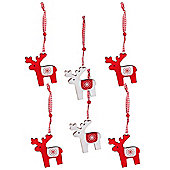Pack of Six Wooden Scandinavian Reindeer Hanging Christmas Tree Decorations