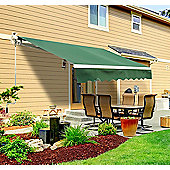 Outsunny 3m x 2.5m Garden Awning with Winding Handle in Green