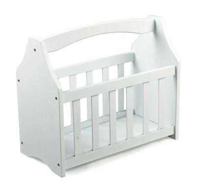 White Wooden Newspaper Book Magazine Rack Holder Storage Shelf Stand Basket