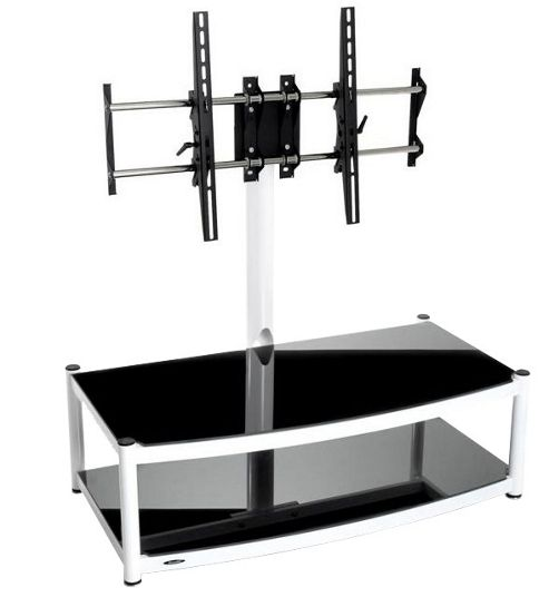Atacama Cantilever 2 Shelf TV Stand - White and Black
