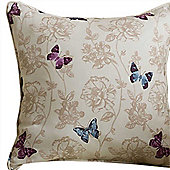 Homescapes Cotton Mauve Filled Cushion Butterfly Design 43 x 43 cm