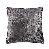 Homescapes Dark Grey Luxury Crushed Velvet Cushion Cover, 60 x 60 cm