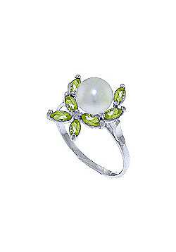 QP Jewellers Peridot & Pearl Ivy Ring in 14K White Gold