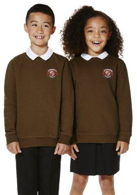 Unisex Embroidered School Sweatshirt with As New Technology 9-10 years Brown