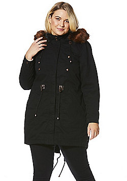 Simply Be Capsule Faux Fur Trim Parka - Black