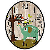 Owl and Elephant, Oval Shaped Clock