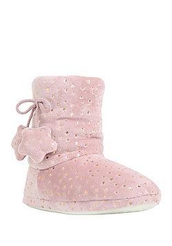 F&F Star Foil Print Faux Fur Bootie Slippers - Pink