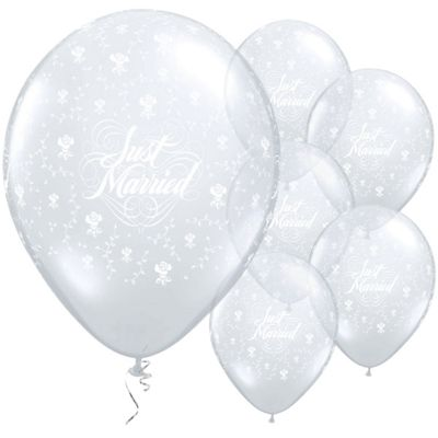 Just Married Diamond Clear Flowers 11 inch Latex Balloons - 25 Pack