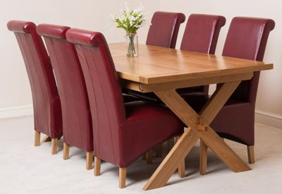 Vermont Solid Oak Extending 200 - 240 cm Dining Table with 6 Red Montana Leather Chairs