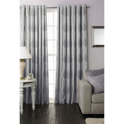Riva Home Dalby Silver Eyelet Curtains - 66x54 Inches (168x137cm)