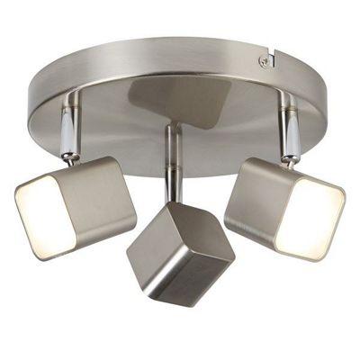 QUAD 3 LIGHT LED SQUARE HEAD SPOT PLATE, SATIN SILVER