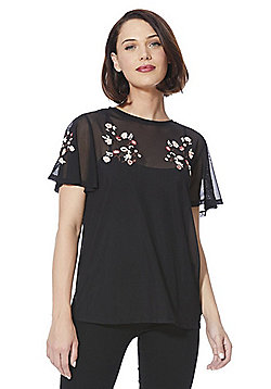 F&F Embroidered Mesh Layered Top - Black