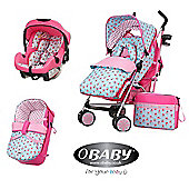 Obaby Zeal Stroller 3 in 1 Pram Travel System Bundle - Cottage Rose
