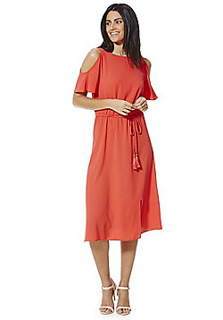 F&F Cold Shoulder Crepe Midi Dress - Red