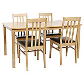 Truro 4 Seat Dining Table Set, Oak and Charcoal