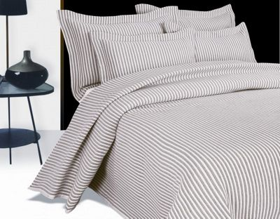 Arctic Stripe Oatmeal Bedspread