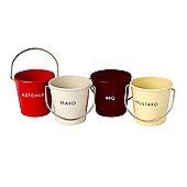 Eddingtons Ranch Condiments Buckets, Set of 4