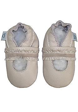 Dotty Fish Soft Leather Baby Shoe - Cream Christening Design - Cream