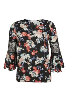 Lovedrobe Floral Lace Sleeve Plus Size Top Multi 16