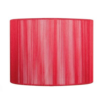 20cm Red Silky String Drum Shimmer Lamp Shade Modern Style