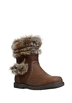 F&F Faux Fur Trim Boots - Tan