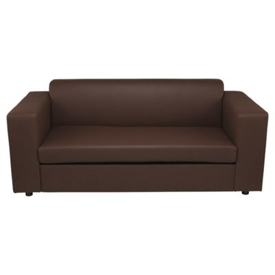 Stanza 2 Seater Faux Leather Sofa Bed, Chocolate