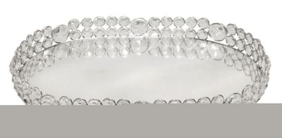 Oval Mirror And Clear Glass Crystal Tray