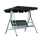 Outsunny Garden 3 Seater Metal Swing Chair Canopy Outdoor (Black)