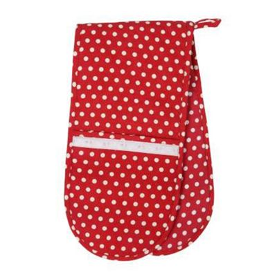 Rushbrookes Vintage Polka Dot Double Oven Glove, Red