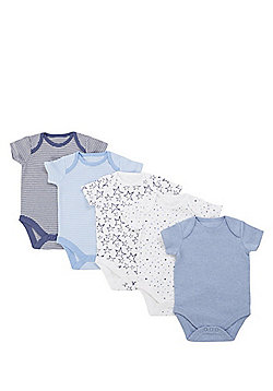 F&F 5 Pack of Simple Short Sleeve Bodysuits - Blue & Multi