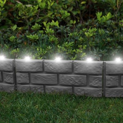 4 x Grey Brick Effect Lawn Eding with LED Solar Lights