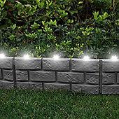 4 x Grey Brick Effect Lawn Eding with LED Solar Lights